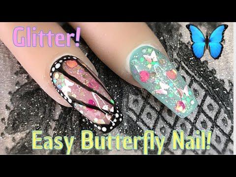 Easy Butterfly Nail! 🦋 | Glitter Nail | Gel Polish | Nail Sugar