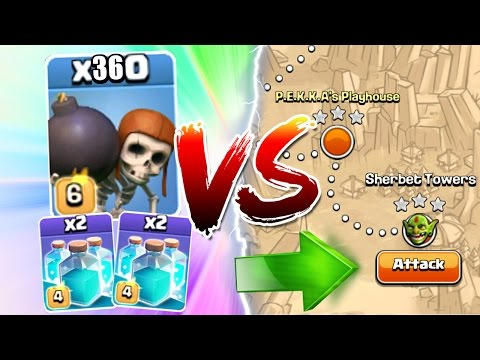 Clash Of Clans - 360 WALL BREAKERS TOTAL + CLONE SPELLS vs SINGLE PLAYER!