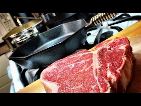 Porterhouse Steak in a Finex Cast Iron Skillet Using the Constant Flip/Hot Oil Method