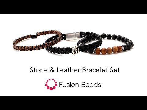 Learn how to create the Stone and Leather bracelet set by Fusion Beads