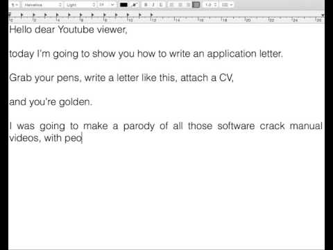 How To Write An Application Letter - Part I - Introduction