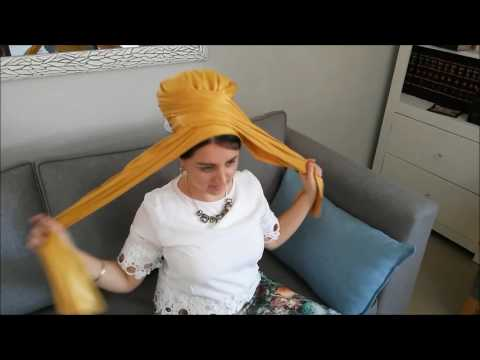 how To Tie Scarf Into Bow, Using Mustard leatherette headscarf, long rectangular, by oshratdesignz