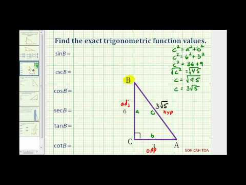 Find Trig Function Values Using a Right Triangle - Length of Hypotenuse Missing