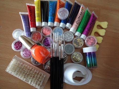First Impression/Review/Demo Acrylic paints Brushes Glitter Nail polish Banggood