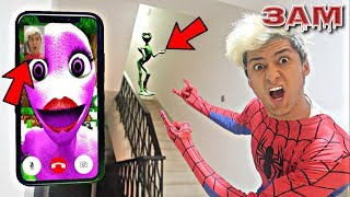 DO NOT FACETIME THE PINK ALIEN DAME TU COSITA AT 3AM!! *OMG SHE CAME TO MY HOUSE*