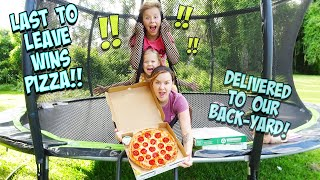 LAST TO LEAVE THE TRAMPOLINE WINS!! - WE HAD PIZZA DELIVERED!!