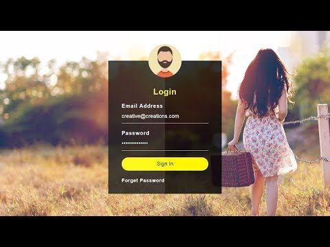 How to Create a Login Form with HTML & CSS - Transparent Login Form Design
