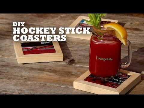 DIY Hockey Stick Coasters
