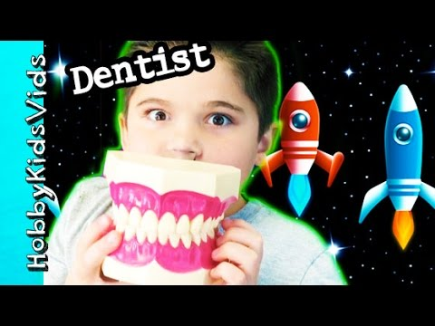 Spaceship DENTIST Visit! Giant Teeth + Toy Surprise. Cleaning by HobbyKidsVids