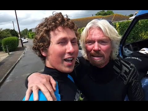 Sir Richard Branson World Record English Channel Crossing with PUSH Kiting & Flexifoil