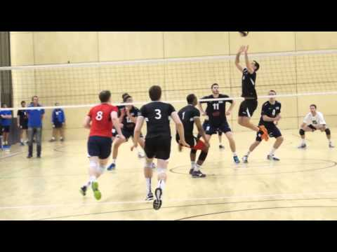 High Jump with Chest Above Volleyball Net