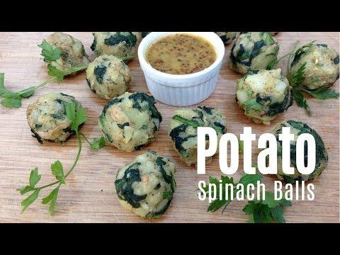 Potato Spinach Balls with Dijon Dipping Sauce - Vegan, Gluten-Free, Oil-Free