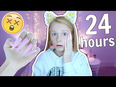 I Wore REALLY LONG Acrylic Nails For 24 Hours!! 😱💅 *painful*