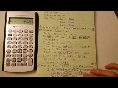 BA II Plus calculate Payback period NPV IRR PI