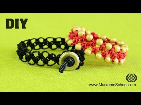 DIY Easy ZigZag Square Knot Loops Bracelet   Macrame School