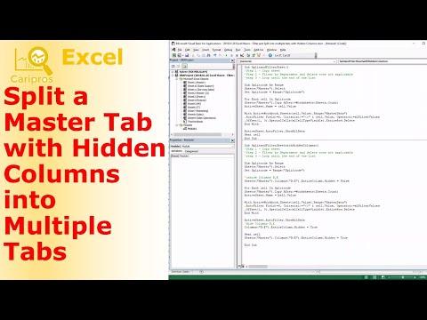 Split Spreadsheet to Multiple Sheets with Hidden Columns - VBA for Beginner