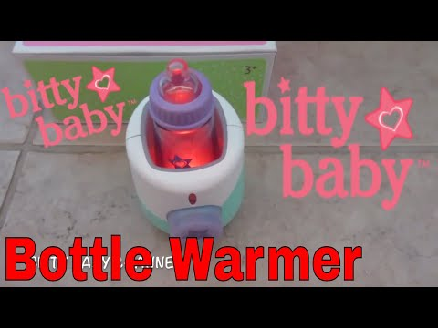 American Girl BITTY BABY BOTTLE WARMER SET Unboxing with Lights and Sounds and Doll Food and Spoon