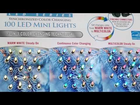 Sylvania 100 Count LED Mini Lights 3 in 1 Synchronized Color Changing Review