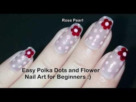 Easy DIY Flower and Polka Dots Nail Art Tutorial: (No Tools) Nude Nail Art Design | Rose Pearl