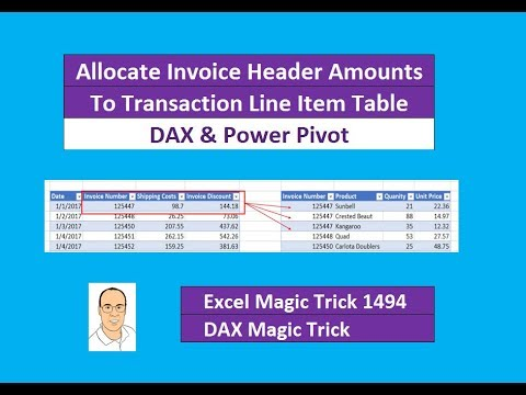 EMT 1494: DAX & Power Pivot: Allocate Invoice Header Amounts To Invoice Transaction Line Table
