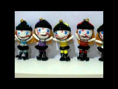 Roller derby Girl sport string doll voodoo doll keychain www.Pokeitvoodoo.com