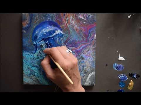Jellyfish Painting | Acrylic Pour Technique | Fluid Art | How To Paint Jellyfish | Jasvir Kambo