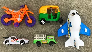 Realistic Street Vehicles with Indian Auto Rickshaw, Bike, Racing Car, Airplane & Carrier Truck