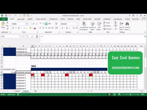 Notify if employees are scheduled for two shifts in a row in Excel