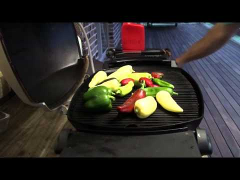 Grilled Capsicum Peppers on Weber Q.mp4