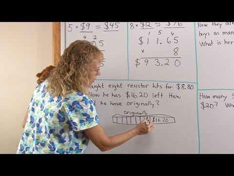 Multiplying money amounts - 4th grade math: estimation and word problem