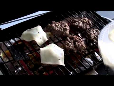 BBQ burgers on an electric grill