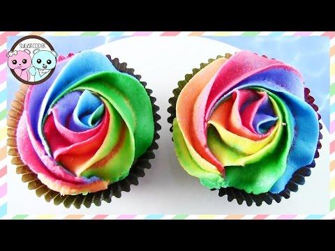 RAINBOW CUPCAKES, RAINBOW ROSE CUPCAKES, DIY EASY YUMMY CUPCAKES