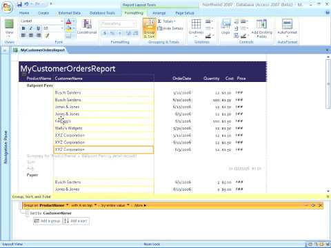 Access 2007 Creating Groups and Total Reports