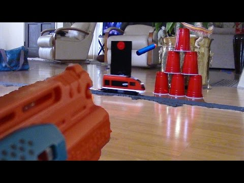 Lego City train with Nerf target