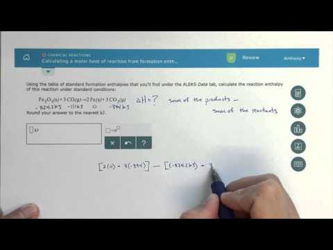 ALEKS - Calculating a Molar Heat of Reaction from Formation Enthalpies