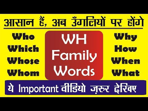 WH Questions in English | WH FAMILY Words Exercises in English Grammar | Learn English through Hindi