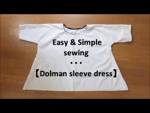 *DIY* Easy way to make 【Dolman Sleeve Dress】