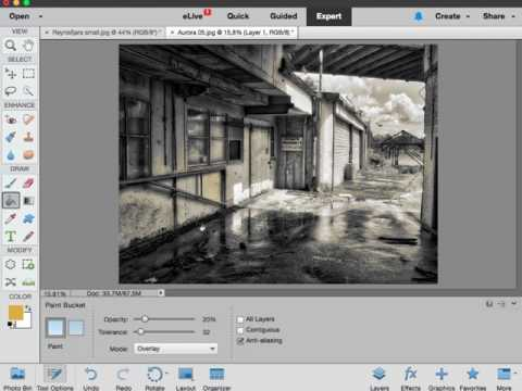 Photoshop Elements: Using the Paint Bucket tool