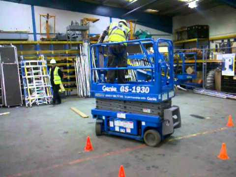 Lee does his scissor lift IPAF test.