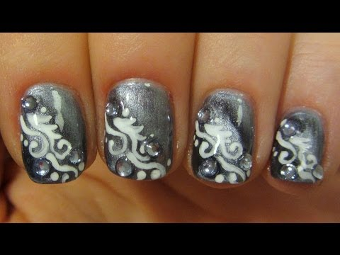 Magnetic Grey and White Swirly Design on Short Nails with Icy Blue Rhinestones Nail Art Tutorial