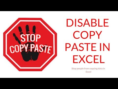 Disable Copy Paste in Excel 2019
