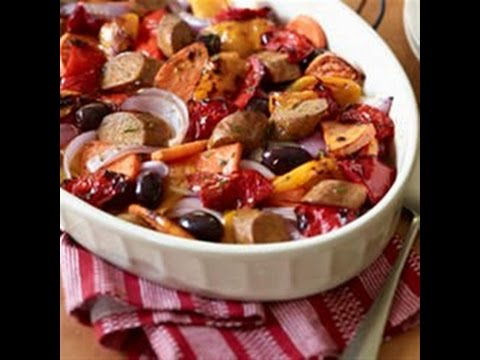Easy Italian Sausages with Roasted Sweet Potatoes and Sweet Peppers Recipe