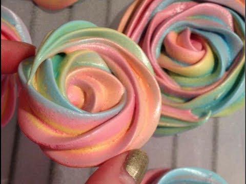 Rainbow Rose Meringue Cookies