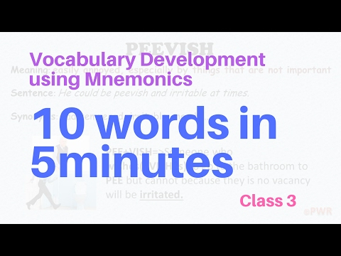 English Vocabulary Building Using Mnemonics -Class 3 ( GRE GMAT CAT SSC IBPS)  10 words in 5 minutes