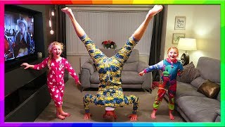 Hannah and Jessica vs Dad at Gymnastics Headstand Daddy Wins With No Practice lol