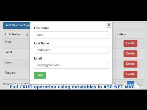 Full CRUD operation using datatables in ASP.NET MVC