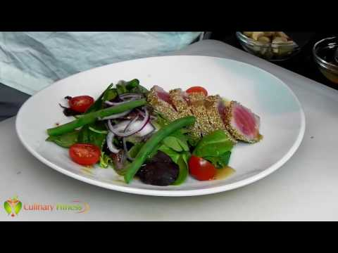 Seared Sesame Ahi Tuna Salad w/ Ginger Sesame Dressing | Chef Dennis Berry | Healthy Cooking Videos
