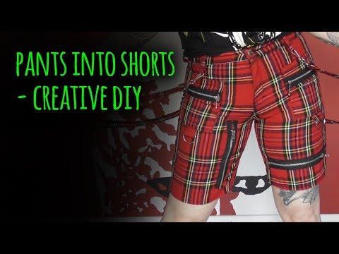 Pants into shorts - creative DIY
