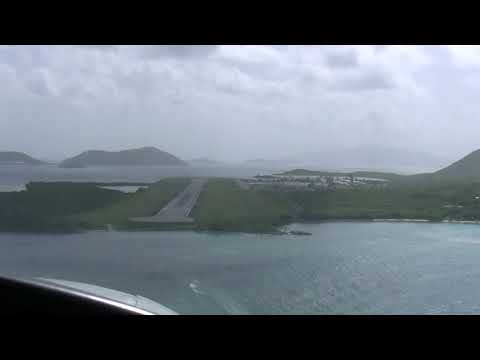 Cockpit View Landing in British Virgin Islands, EIS Tortola - Before Hurricane Irma - in Cessna 402