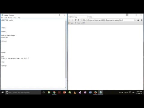 HTML5 for absolute beginners using Notepad in Windows 10 Part 1
